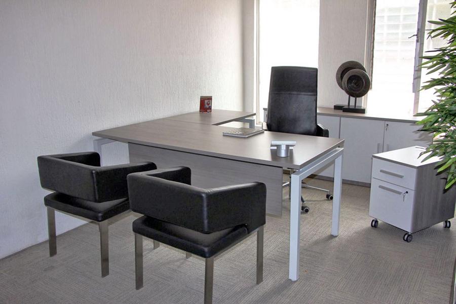 Escritorios en l escritorio mark en l mixto vidrio for Muebles de oficina puebla